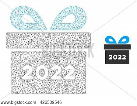 Mesh 2022 Gift Model Icon. Wire Carcass Polygonal Mesh Of Vector 2022 Gift Isolated On A White Backg