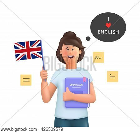 Young Woman Jane Studying English Holding A Dictionary And English Flag. Learn English Concept. 3d V