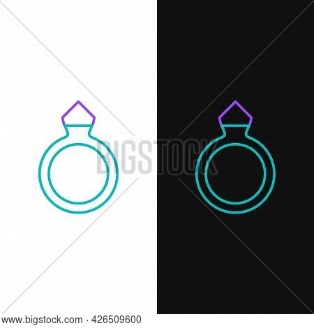 Line Diamond Engagement Ring Icon Isolated On White And Black Background. Colorful Outline Concept.