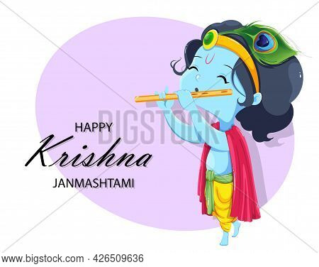 Happy Krishna Janmashtami Greeting Card. Lord Krishna Kid Paying Flute. Stock Vector