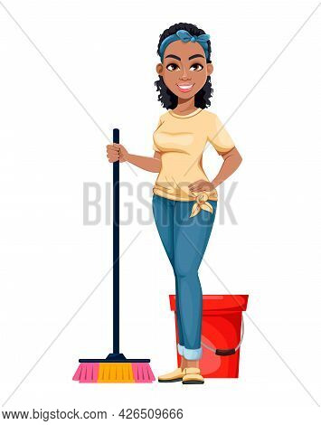 Pretty African American Housewife Washing Floor. Cute Lady Cartoon Character Doing Domestic Work. St