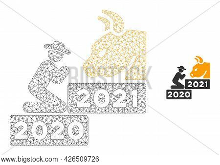 Mesh Pray Golden Bull Year Model Icon. Wire Frame Triangular Mesh Of Vector Pray Golden Bull Year Is