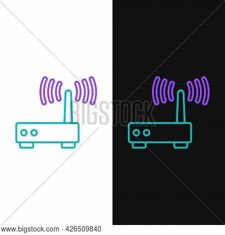 Line Router And Wi-fi Signal Icon Isolated On White And Black Background. Wireless Ethernet Modem Ro