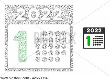 Mesh 2022 Year First Day Model Icon. Wire Frame Triangular Mesh Of Vector 2022 Year First Day Isolat