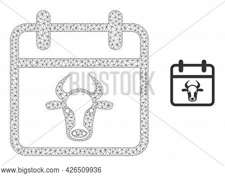 Mesh Bull Calendar Page Model Icon. Wire Frame Polygonal Mesh Of Vector Bull Calendar Page Isolated