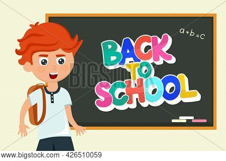 A Schoolboy At The Blackboard With The Inscription Back To School In A Cartoon Style. Vector Illustr