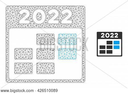 Mesh 2022 Week Calendar Model Icon. Wire Frame Polygonal Mesh Of Vector 2022 Week Calendar Isolated
