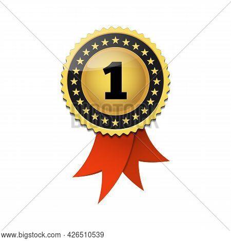 Seal Ribbon Rosette Badge Winner Tag Emblem. Vector Illustration.