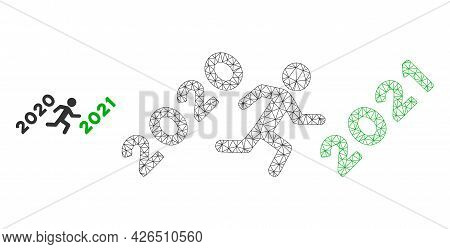 Mesh Man Run To 2021 Model Icon. Wire Carcass Polygonal Mesh Of Vector Man Run To 2021 Isolated On A