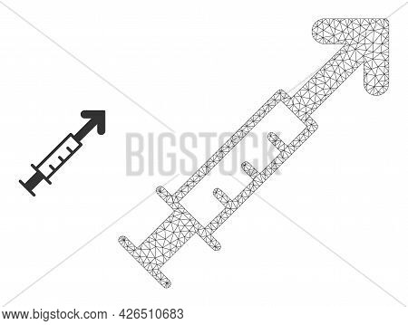 Mesh Vector Vaccine Model Icon. Wire Frame Triangular Mesh Of Vector Vaccine Isolated On A White Bac