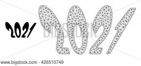 Mesh 2021 Perspective Text Model Icon. Wire Frame Triangular Mesh Of Vector 2021 Perspective Text Is
