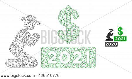 Mesh Gentleman Pray Dollar 2021 Model Icon. Wire Carcass Triangular Mesh Of Vector Gentleman Pray Do