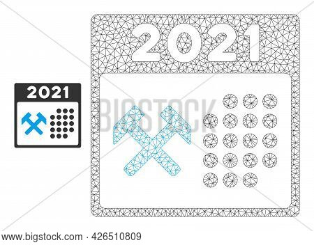 Mesh 2021 Working Days Model Icon. Wire Carcass Triangular Mesh Of Vector 2021 Working Days Isolated