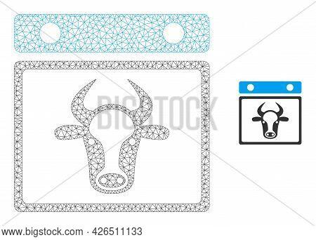 Mesh Bull Calendar Leaf Model Icon. Wire Frame Polygonal Mesh Of Vector Bull Calendar Leaf Isolated