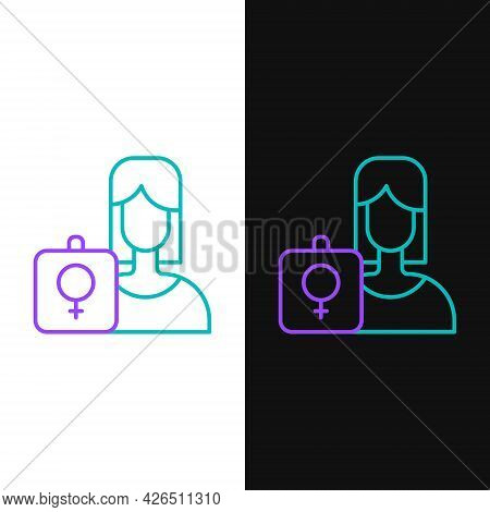 Line Female Movement, Feminist Activist With Banner And Placards Icon Isolated On White And Black Ba
