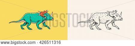 Dinosaur Triceratops, Skeletons, Fossils. Prehistoric Reptiles, Animal. Engraved Vintage Hand Drawn