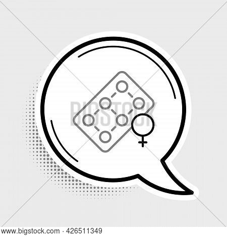 Line Packaging Of Birth Control Pills Icon Isolated On Grey Background. Contraceptive Pill. Colorful