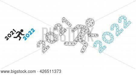 Mesh Man Run To 2022 Model Icon. Wire Frame Polygonal Mesh Of Vector Man Run To 2022 Isolated On A W