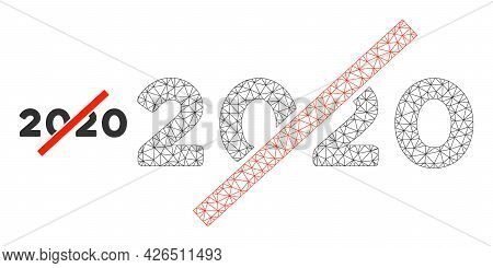 Mesh No 2020 Year Model Icon. Wire Carcass Polygonal Mesh Of Vector No 2020 Year Isolated On A White