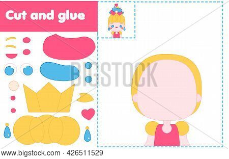 Cut And Paste Children Educational Game. Paper Cutting Activity. Make A Princess With Glue And Sciss