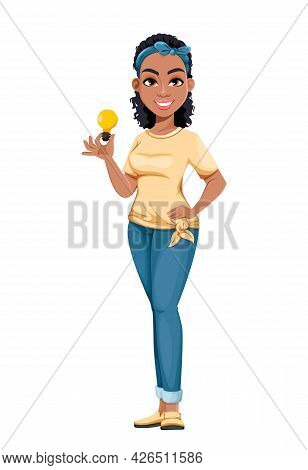 Pretty African American Housewife Holding Lamp. Cute Lady Cartoon Character Doing Domestic Work. Sto