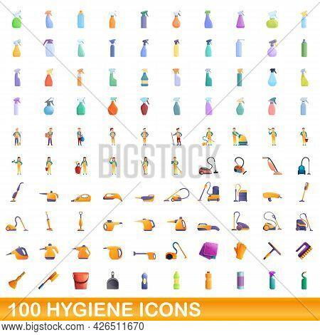 100 Hygiene Icons Set. Cartoon Illustration Of 100 Hygiene Icons Vector Set Isolated On White Backgr