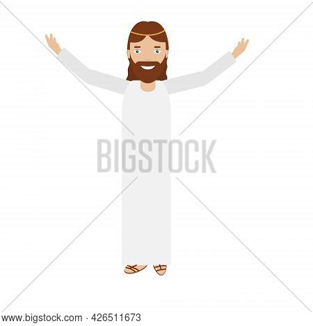Smiling Jesus With Hands Rised Up. Man In White Long Dress Calls For People And Smile