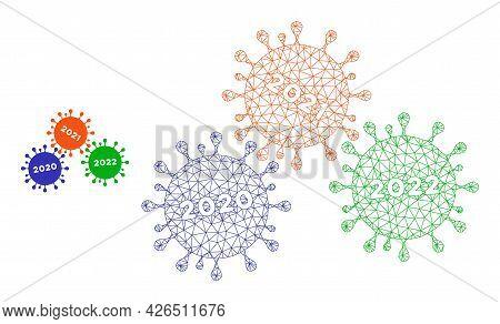Mesh Coronavirus Years Model Icon. Wire Frame Triangular Mesh Of Vector Coronavirus Years Isolated O
