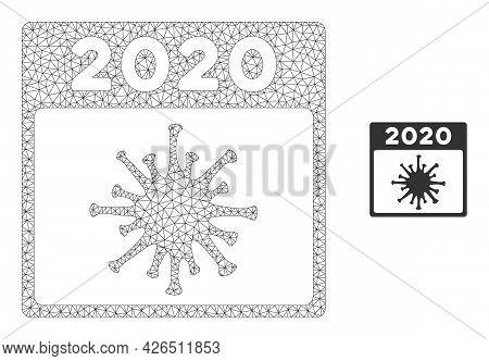Mesh 2020 Covid Calendar Day Model Icon. Wire Carcass Polygonal Mesh Of Vector 2020 Covid Calendar D