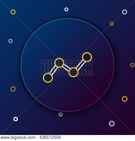 Line Graph, Schedule, Chart, Diagram, Infographic, Pie Graph Icon Isolated On Blue Background. Color
