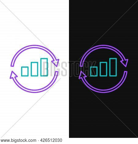 Line Graph, Schedule, Chart, Diagram, Infographic, Pie Graph Icon Isolated On White And Black Backgr
