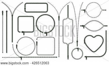 Zipper Silhouettes. Zip Pulls Closed And Open, Zipper Frames And Borders, Clothes Zip Lock Accessori