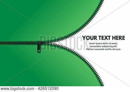 Zipper Background. Zip Pulls, Clothes Zip Lock Accessories Banner With Text Space, Vector Concept Te