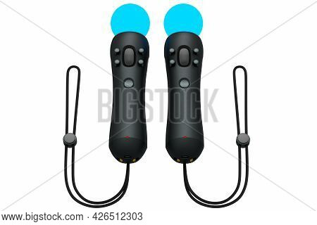 Virtual Reality Controllers For Online And Cloud Gaming On White Background. 3d Rendering Of Device