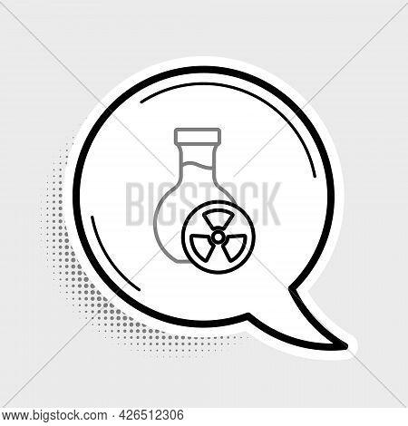 Line Laboratory Chemical Beaker With Toxic Liquid Icon Isolated On Grey Background. Biohazard Symbol