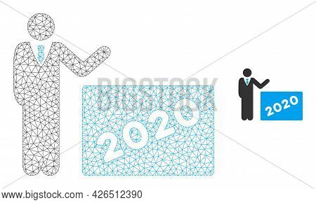 Mesh 2020 Showing Man Model Icon. Wire Frame Triangular Mesh Of Vector 2020 Showing Man Isolated On