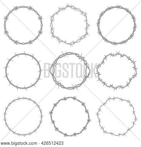 Barbed Wire Frames. Round Prison Wire Symbols, Circle Steel Razor Wire Frames Vector Illustration Se