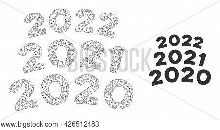 Mesh 2020 - 2021 Arc Texts Model Icon. Wire Carcass Triangular Mesh Of Vector 2020 - 2021 Arc Texts