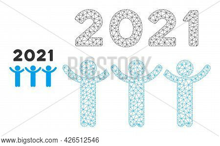 Mesh 2021 Dancing People Model Icon. Wire Carcass Triangular Mesh Of Vector 2021 Dancing People Isol