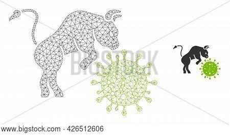 Mesh Bull Attacks Coronavirus Model Icon. Wire Carcass Triangular Mesh Of Vector Bull Attacks Corona
