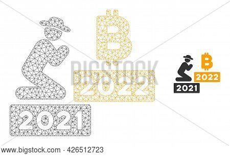 Mesh Gentleman Pray Bitcoin 2022 Model Icon. Wire Carcass Triangular Mesh Of Vector Gentleman Pray B