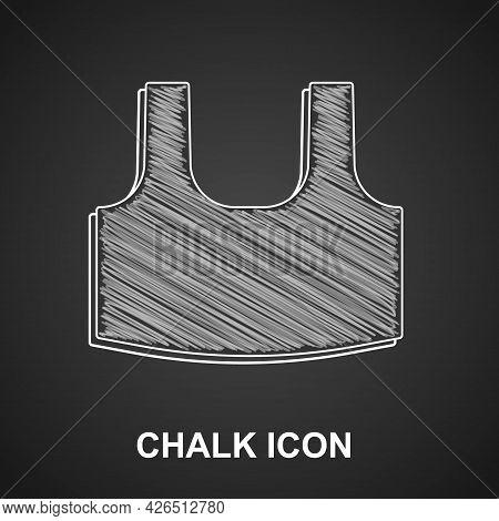 Chalk Undershirt Icon Isolated On Black Background. Vector