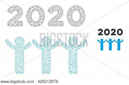 Mesh 2020 Dancing People Model Icon. Wire Frame Polygonal Mesh Of Vector 2020 Dancing People Isolate