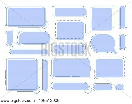 Chat Speech Bubbles. Geometric Thought Balloons, Clouds For Messages Or Dialogue Chats Vector Isolat