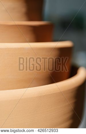 Abstract Background And Texture Of Terracotta Plates.