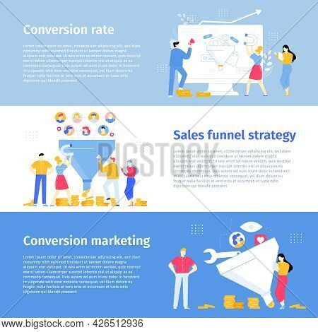 Conversion Rate, E-commerce Site Attraction New Clients. Customers Buying New Products Vector Banner