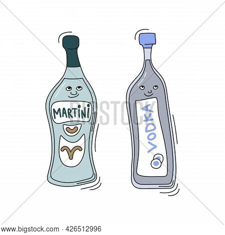 Martini And Vodka With Smile On White Background. Cartoon Sketch Graphic Design. Doodle Style With B