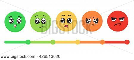 Emotions Faces From Happy To Angry. Mood Indicator Scale, Customer Satisfaction Meter. Emoticons For