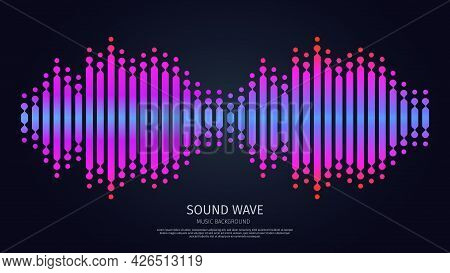 Sound Wave Equalizer. Music Digital Waveform Technology Background. Electronic Purple Light Energeti