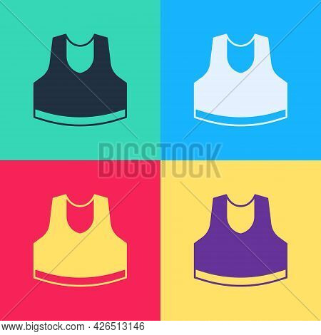 Pop Art Undershirt Icon Isolated On Color Background. Vector